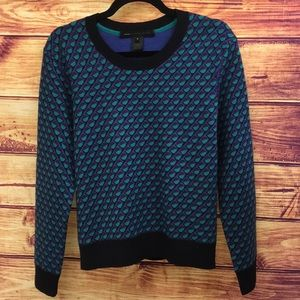 Marc by Marc Jacobs Wool Blue Print Knit Sweater